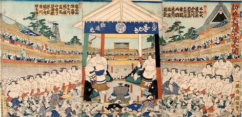 Cérémonie d'entrée des lutteurs dohyô iri par Utagawa Kuniteru en 1863