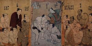 Combat du yokozuna Tanikaze contre Onogawa, estampe de Katsukawa Shunkō I