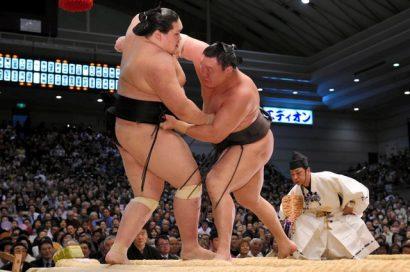Hakuho reste une victoire derrière Kisenosato après sa victoire sur Terunofuji
