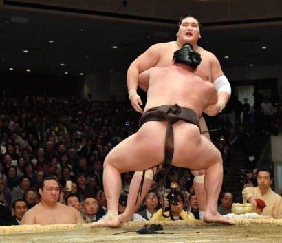 Hakuho est toujours second du classement. Aujourd'hui, le yokozuna s'est imposé face à l'ôzeki Terunofuji.
