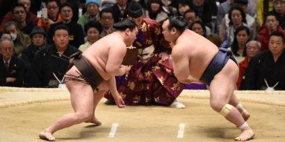Hakuho et Terunofuji rebondissent. Ici Hakuho face à Takarafuji