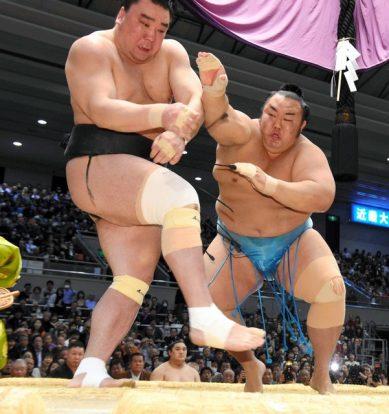Premier kinboshi pour Kotoyuki qui a vaincu le yokozuna Harumafuji.