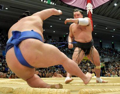 Le yokozuna Harumafuji a obtenu sa cinquième victoire en battant le komusubi Shodai.