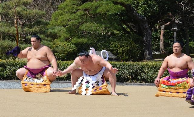 Hakuho lors de cérémonie au sanctuaire d'Ise