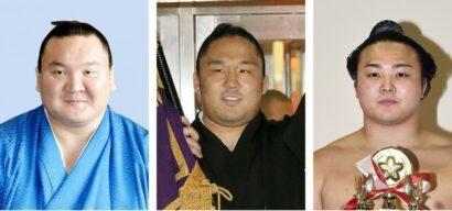 Hakuho, Ishiura et Enho, membres de l'écurie Miyagino